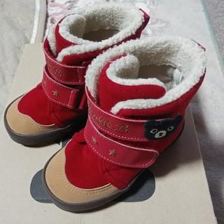 ダブルビー(DOUBLE.B)の美品 ミキハウス ダブルビー ダブルB ボア ブーツ 赤 レッド 14cm(ブーツ)