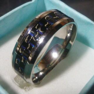 メンズ24号レア炭素繊維ブルーステンレス鋼指輪(リング(指輪))
