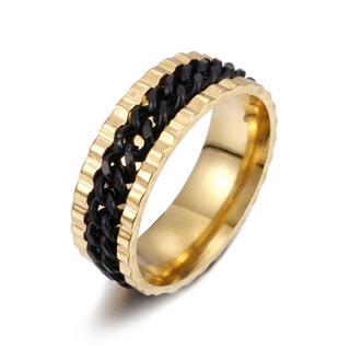 特価!ブラックチェーンのゴールドステンレスリング 15、16号相当(リング(指輪))