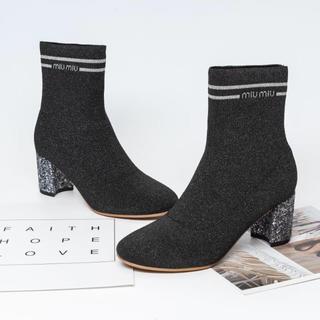 ミュウミュウ(miumiu)のmiumiu ミュウミュウ ブーツ ニット ブーティ 大人気 ハイヒール(ブーツ)