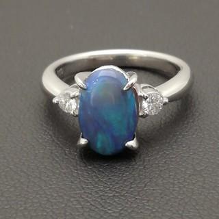 Pt900 ブラックオパール✨ダイヤ✨付きリング 石の大きさが抜群です♥️(リング(指輪))