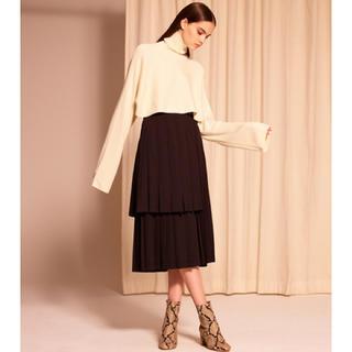 ルシェルブルー(LE CIEL BLEU)のルシェルブルー レイヤードプリーツスカート ブラック(ひざ丈スカート)
