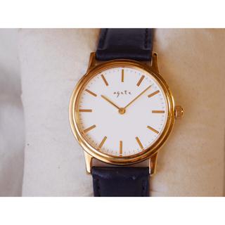 アガット(agete)のagete 腕時計 ゴールド 本革 ブラック(腕時計)