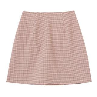 ダズリン(dazzlin)のダズリン ギンガムチェックミニ台形スカート オレンジ(ミニスカート)