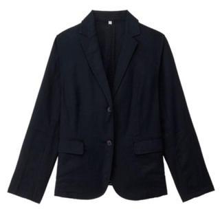 ムジルシリョウヒン(MUJI (無印良品))の無印良品 リネン テーラードジャケット ネイビー レディース(テーラードジャケット)
