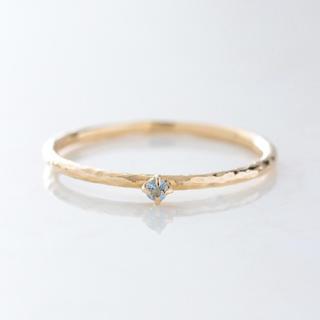 K10 一粒天然石 シンプルゴールドリング ツチメ アクアマリン(リング(指輪))
