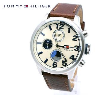 トミーヒルフィガー(TOMMY HILFIGER)のトミーヒルフィガー 腕時計 メンズ アイボリー ブラウン レザー ブランド(腕時計(アナログ))