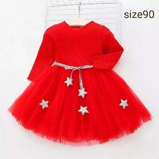クリスマス ドレス♡チュール ワンピース♡赤 90(ワンピース)