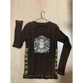 カットソー  長袖 ロンT Lサイズ メンズ  ゴールドプリント Vネック(Tシャツ/カットソー(七分/長袖))