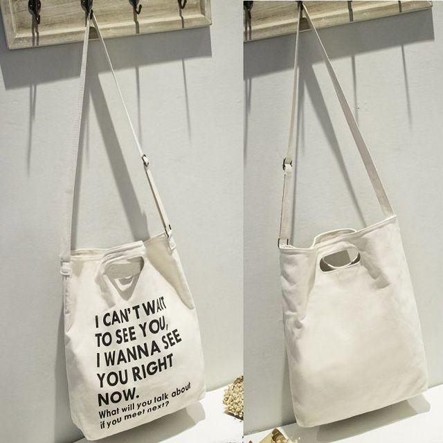 キャンバスバッグ 2way トートバッグ ショルダーバッグ 帆布 ホワイト レディースのバッグ(トートバッグ)の商品写真