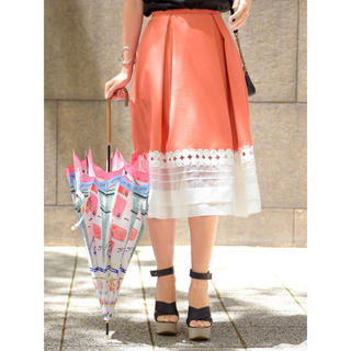 チェスティ(Chesty)の50%OFF❗️レア!タグ付き デザインフレアスカート オレンジ オーガンジー(ひざ丈スカート)
