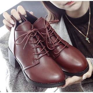 ♥ レースアップ ブーティ ローヒール ショートブーツ 履きやすい 秋冬(ブーツ)