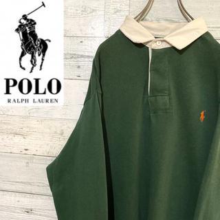 POLO RALPH LAUREN - 【レア】ポロラルフローレン☆刺繍ロゴ グリーン ポロシャツ ラガーシャツ 90s