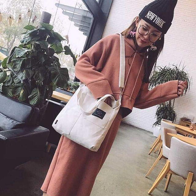 トートバッグ ショルダーバッグ 2way ポケット ファスナー付き ホワイト レディースのバッグ(トートバッグ)の商品写真