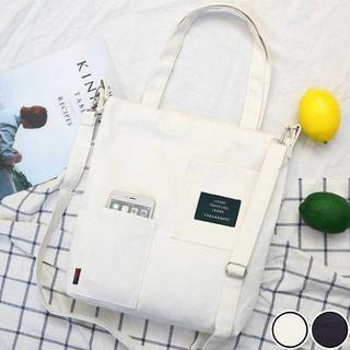 トートバッグ ショルダーバッグ 2way ポケット ファスナー付き ホワイト(トートバッグ)