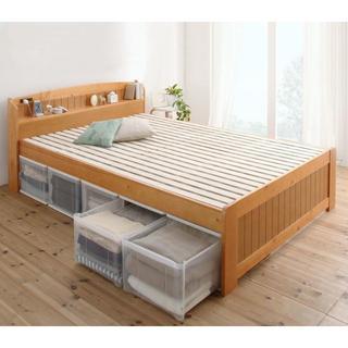 高さ調節可 カントリー調 天然木すのこベッド シングル(フレームのみ)(シングルベッド)
