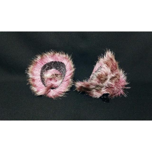 【 パープルケモノネコミミ 】ヘアピンねこみみ◆髪に着けられる猫耳 ハンドメイドのアクセサリー(ヘアアクセサリー)の商品写真