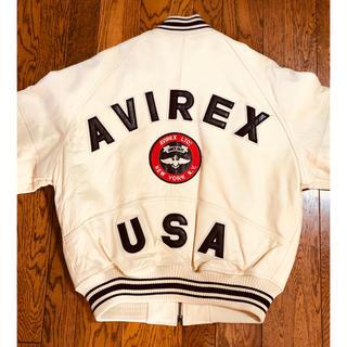 アヴィレックス(AVIREX)のAVIREX レザースタジャン(白)サイズS(USA)(スタジャン)