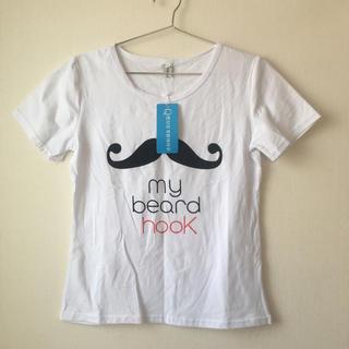 スタイルナンダ(STYLENANDA)の韓国ファッション ヒゲ柄 Tシャツ 白 (Tシャツ(半袖/袖なし))