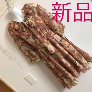 セシルマクビー(CECIL McBEE)の新品 リュリュ  花柄 秋色 ワンピース(ひざ丈ワンピース)