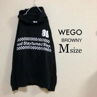 ウィゴー(WEGO)のMサイズ WEGO BROWNY⭐️新品⭐️チェッカーライン切替パーカー黒 (パーカー)