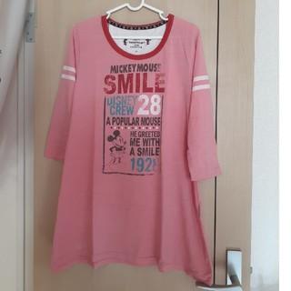 Disney - ディズニー ミッキー ロングシャツ ピンク
