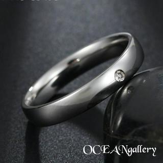 送料無料 13号 シルバーサージカルステンレススーパーCZシンプル甲丸リング指輪(リング(指輪))