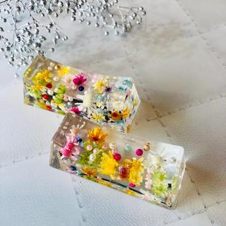 【再販】箸置き  マルチカラー 2個セット☆固まるハーバリウム  ハーバリウム (プリザーブドフラワー)
