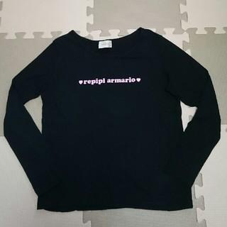 レピピアルマリオ(repipi armario)のrepipi armario レピピ ロゴ ロンT xs 140 ブラック 長袖(Tシャツ/カットソー)