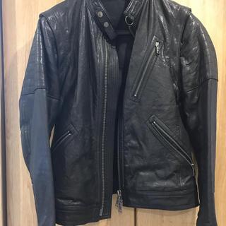 バーバリーブラックレーベル(BURBERRY BLACK LABEL)のバーバリーブラックレーベル ライダースジャケット 黒レザー Mサイズ(レザージャケット)