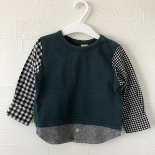 プティマイン(petit main)のうら様専用☆袖切り替えカットソー 90(Tシャツ/カットソー)