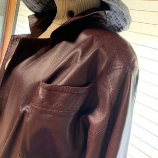 ワインレッドのイタリア製本革ジャケットコート(ロングコート)