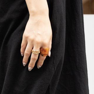 フリークスストア(FREAK'S STORE)の新品 大ぶり 太め ウッド 大理石調 べっ甲 指輪 リング (リング(指輪))