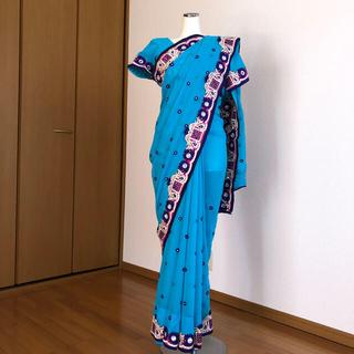 インドサリー  民族衣装 水色 SAREE