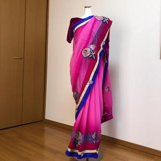 サリー ピンク インドサリー  SAREE 民族衣装