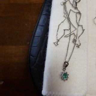 Pt900 Pt850緑石×ダイヤモンドネックレス(ネックレス)