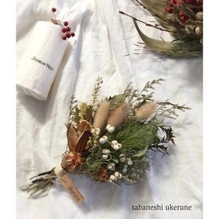 ナンキンハゼやオオウバユリを添えた初冬に飾る スワッグ ドライフラワー(ドライフラワー)
