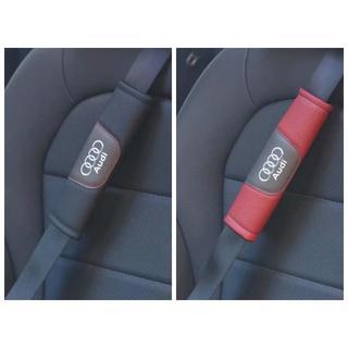 アウディ(AUDI)の新品 AUDI ロゴ 本革 シートベルト 2枚セット 2色選択可(車内アクセサリ)