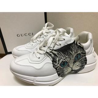 グッチ(Gucci)のGUCCI 猫 スニーカー 白(スニーカー)