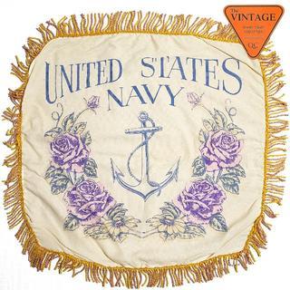 USAビンテージ NAVY ミリタリー タペストリー クッションカバー アメリカ(クッションカバー)