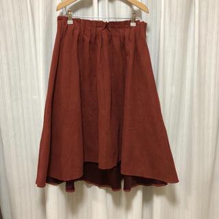 Re-j ❁ 秋冬カラー テラコッタ スウェードスカート レンガ色 大きいサイズ(ひざ丈スカート)