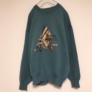ヤマハ(ヤマハ)の90s YAMAHA セーター 刺繍 ゴルフ くすみブルー ウール 日本製(ニット/セーター)