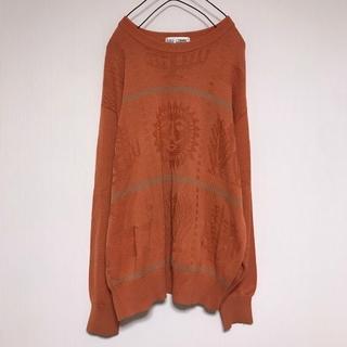 ミズノ(MIZUNO)の古着 ビンテージ mizuno セーター ニット 太陽 オレンジ コットン (ニット/セーター)