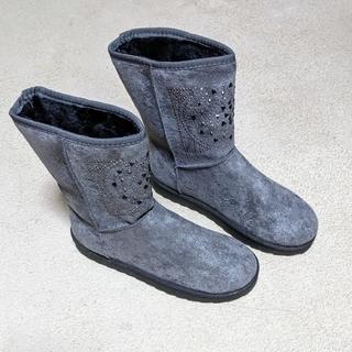 レディース ムートンブーツ きらきらストーン付き グレー Lサイズ(ブーツ)