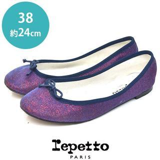 レペット(repetto)のレペット ラメ リボン バレエシューズ フラットパンプス 38(約24cm)(バレエシューズ)