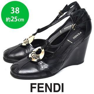 フェンディ(FENDI)のほぼ新品❤️フェンディ ロゴ ウェッジパンプス サンダル 38(約25cm)(ハイヒール/パンプス)