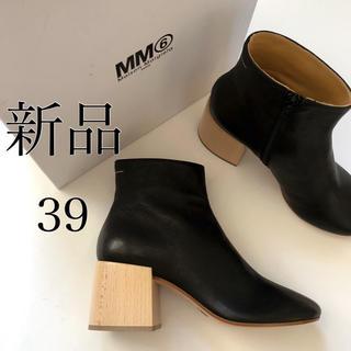 マルタンマルジェラ(Maison Martin Margiela)の新品 MM6 メゾン マルジェラ ウッドヒール ブーツ ブラック 39(ブーツ)