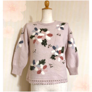グリモワール(Grimoire)のヴィンテージ ✽ 立体刺繍お花ニット ✽ (ニット/セーター)