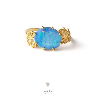 アガット(agete)の新品♡agete♡タブレットオパール♡ダイヤモンド♡K18リング♡アガット(リング(指輪))