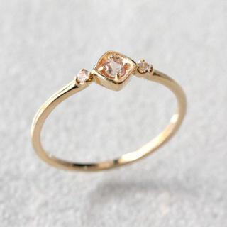 K10 一粒天然石 ひし形 リング シャンパンガーネット ホワイトサファイヤ(リング(指輪))